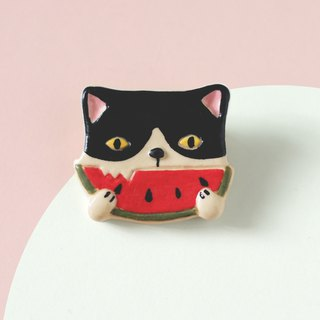 Purr- Cat with Watermelon - Brooch of porcelain