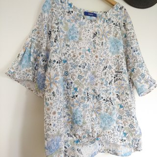 Botanical and floral flare sleeve blouse/JAPAN linen 100%