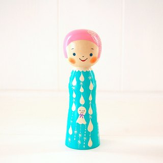 Kokeshi doll / red cheeks girl / design-no.6 /