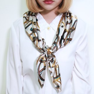 Back to Green::古典丝质丝巾 心型锁链 MADE IN KOREA vintage scarf (SC-12)