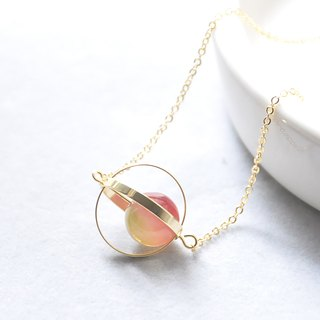幻彩星球。宇宙。金环。西瓜碧壐。项链 Color-Shift Planet。Galaxy。Golden Ring。Tourmaline。Necklace。生日礼物。闺蜜礼物。姐妹礼物