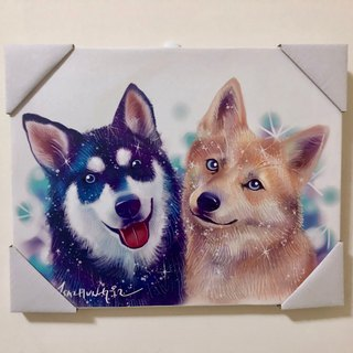 frameless painting for two dogs- 30*40cm