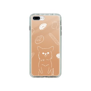 Copy iPhone Plus size mirror case Chihuahua and bread illustration