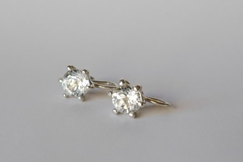 O-like order goods earring (white topaz * sv)