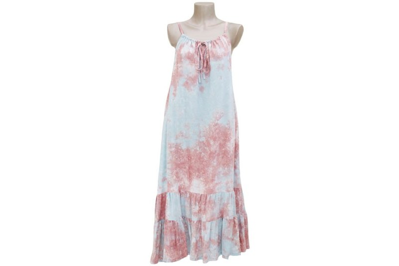Tropical loose Kawa! Uneven dyed camisole ruffle long dress <Sand Blue>