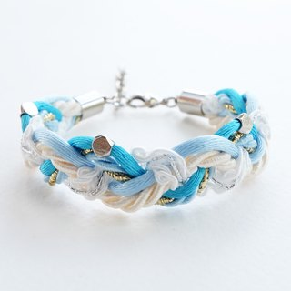 Blue cream braided bracelet