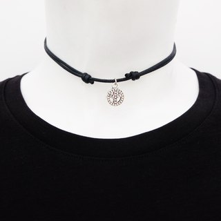 Peace adjustable knot cord choker / necklace in black , waxed cotton cord