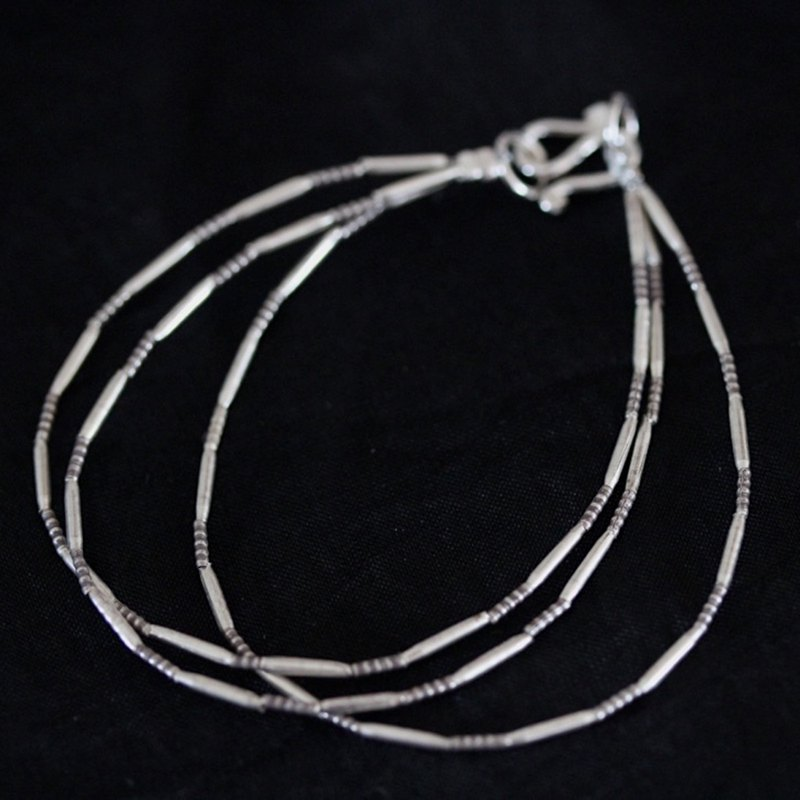 3-tiered handmade oxydized silver tube-beads bracelet (B0056)