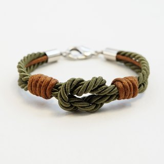 Military green tie the knot bracelet with brown waxed cotton cord