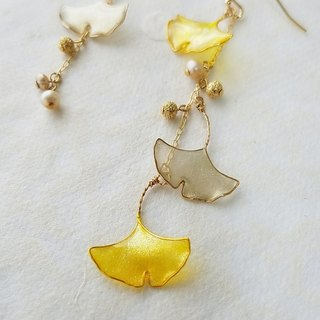 ginkgo leaf pierced earrings or clip&screw earrings <autumn>