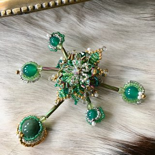 Individual fashion brooch of fresh green color