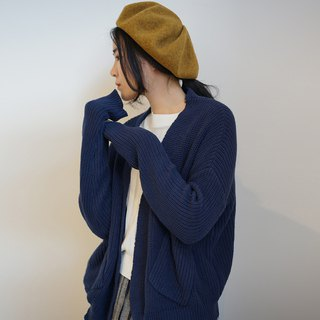 ee18/ Cotton Cardigan (navy/cream)