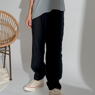 hao Navy Linen Wide Pants 深蓝亚麻打折裤