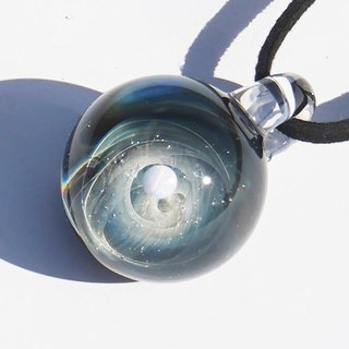 You are the only star. Glass pendant with white opal Space universe