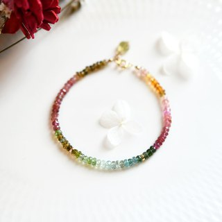 Multicolor tourmaline bracelet bringing health with negative ion power October birthstone