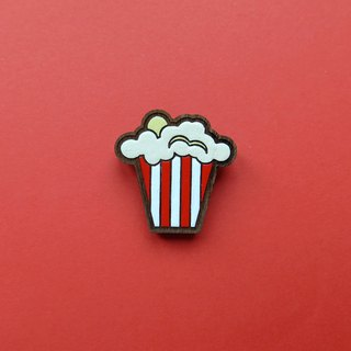 Wooden Brooch Popcorn