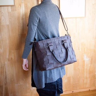 I knit with leather for car seat. Braided leather, mesh leather / leather tote bag with shoulder / brown