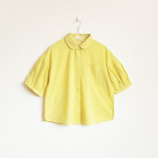japanese cotton puff sleeve blouse : yellow