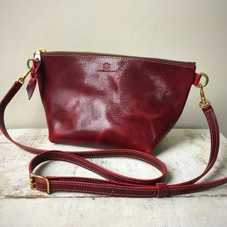 Domestic oil leather nume leather handbag shoulder pouch barco L dark cherry