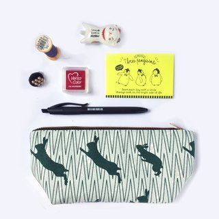 筆袋/化妝袋 Canvas Zipper Pouch, Jumping Rabbit Green