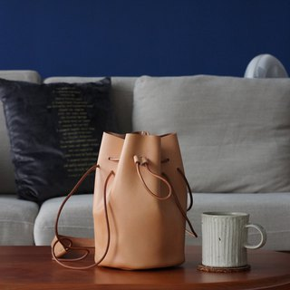 Vegetable Tanned Leather Drawstring Bucket Bag(Small)