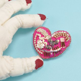Heart shaped brooch, colorful brooch, embroidered statement brooch, pink 3