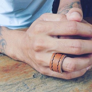 His & Her Double-line-stitched leather rings. Couple Rings (Set of 2).