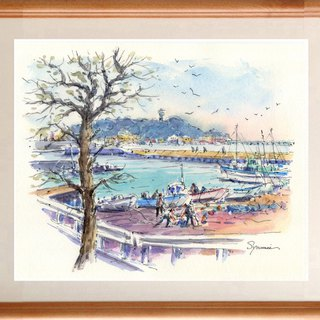 Watercolor picture original picture Enoshima and Higoshigoshi fishing port 2