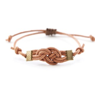 Knot genuine leather in natural tan bracelet - unisex adjustable bracelet