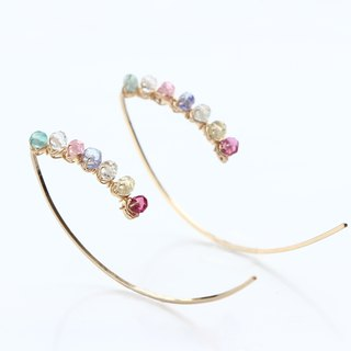 14 kgf - multicolored garden marquise pierced earrings