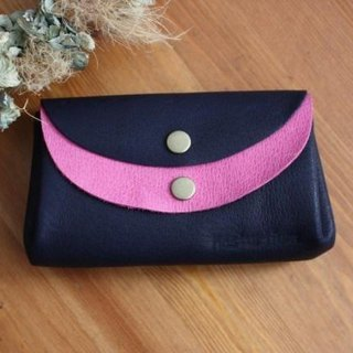 Pigskin's small wallet Navy × rose pink