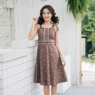 Cozy Cotton Dress Petite Floral Dress Brown Long Dress Tie Shoulder Henley Dress
