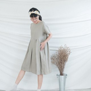 Beige Grey Pleated Linen Dress