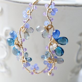 Blue Topaz, Kayanite's Pale Earrings 14 kgf