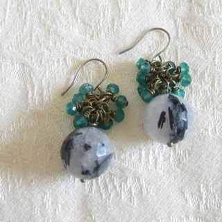 Green Agate & Black Tourmaline earrings (earrings)