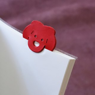 Leather Bookmark / Cute Animal Bookmark / Gift for Book Lovers - Lion Red