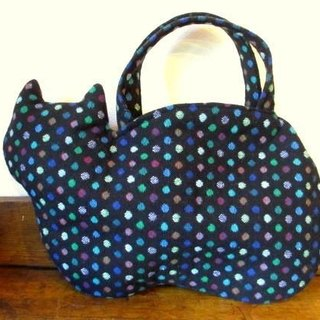 Cat Bag * Black colorful dot