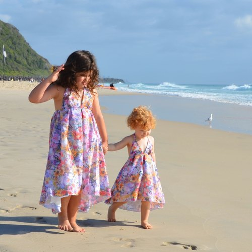 Girls Autumn Beach Sundress in Rainbow Flowers
