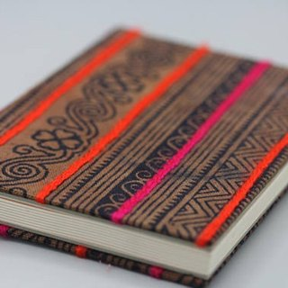 Handmade lined journal-notebook with Hmong hill-tribe fabric cover A6 size (NB0005)