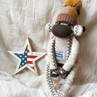socks monkey/beige brown boy