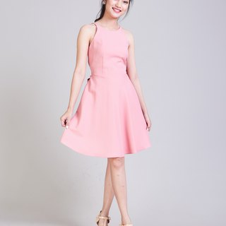 2018 Pink Dress Crisscross Dress Short Pink Party Dress Swing Skirt Summer Dress