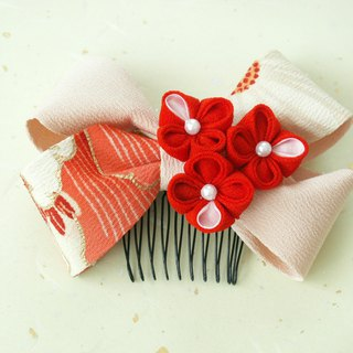 """New color"" knife's hair ornament Using ribbon [Ribbon · peach / red]"