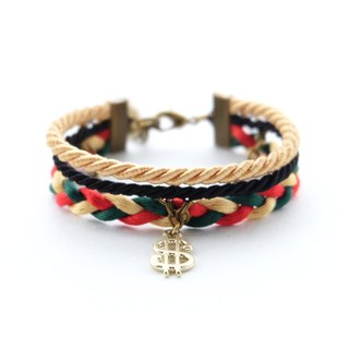 Dollar layered rope bracelet in Gold / black / dark green / red