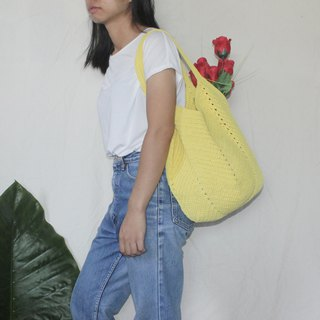 Yellow Tote Bag ,Market Bag ,Yellow Crochet Bag ,Shopping Bag