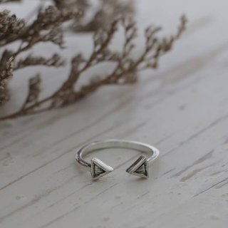 Double triangle Geometry Minimal ring handmade lady women Girl silver sterling