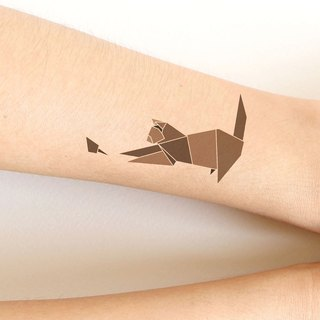 Cat and Rat sticker tattoos. Origami style.