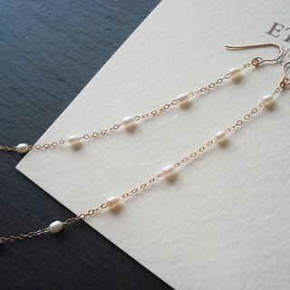 14KGF fresh water pearl and long chain, hook earrings 穿孔