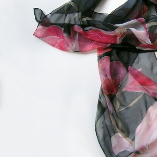 Silk chiffon scarf with pink magnolias/ Floral scarf painted by hand