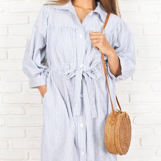 One piece dress coat of striped cotton material