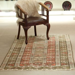 Hand woven carpet natural rug traditional design Turkey 212 × 119cm